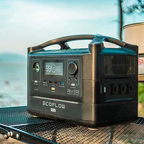 EFEcoFlow(エコフロー)ポータブル電源RIVERMax576Wh出力600W(瞬間最大1200W)X-Boost機能付き高速充電1.6時間家庭用蓄電池車中泊キャンプ防災グッズ50Hz/60Hz対応純正弦波