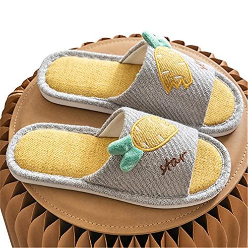 Zapatillas de lino de dormitorio mudas absorbentes de sudor de dibujos animados Zapatillas de interior ultraligeras planas lavables con suela antideslizante,amarillo,35-36