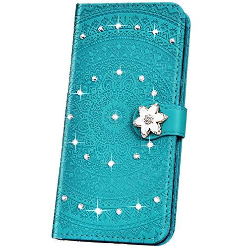 JAWSEU Compatible avec iPhone XS Max Coque Pochette Portefeuille Housse Etui à Rabat Cuir Mandala Fleur Glitter Brillante Strass Stand Magnétique Flip Wallet Case,vert#