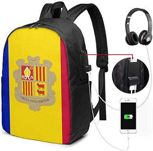 Andorra Vlag Waterdichte Laptop Rugzak met USB Opladen Poort Hoofdtelefoon Past 17 Inch Laptop Computer Rugzakken Reizen Daypack School Tassen voor Mannen Vrouwen