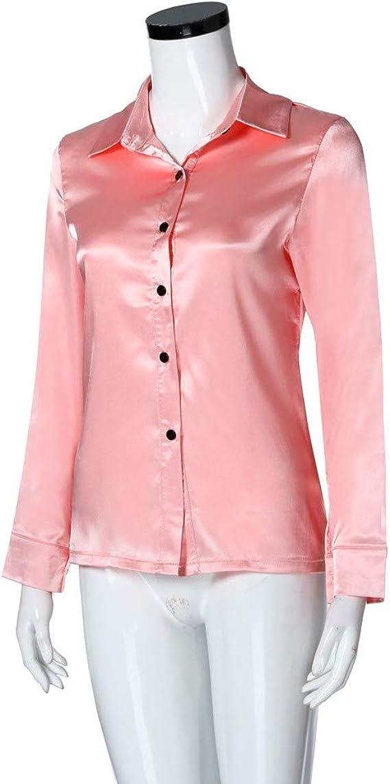 Camisa de satén de manga larga para mujer, cuello en V, color ...