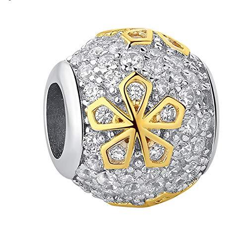 LILIANG Charm Jewelry 925 Cuentas De Cristal Brillante De Plata Esterlina Flor De Color Dorado DIY Encantos Finos En Forma De Pulsera Original Joyería De Navidad