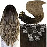 Fshine Clip In Human Hair Extensions 10 Pcs Dip Dye Hair Full Head Clip Hair Extension Color 2 Darkest Brown Fading to 8 Ash Brown Balayage Real Hair Clip In Extensions 18 Inch 100 Gram