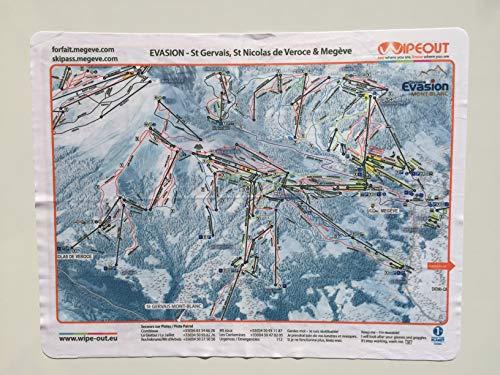Wipeout Evasion - Mapa de Pistas de esquí Impreso en Microfibra, Incluye Megeve, St Gervais, Les Contamines y Combloux