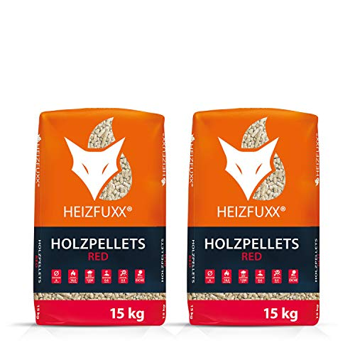 PALIGO Holzpellets Red Heizpellets Hartholz Wood Pellet Öko Energie Heizung Kessel Sackware 6mm 15kg x 2 Sack 30kg / 1 Karton Heizfuxx