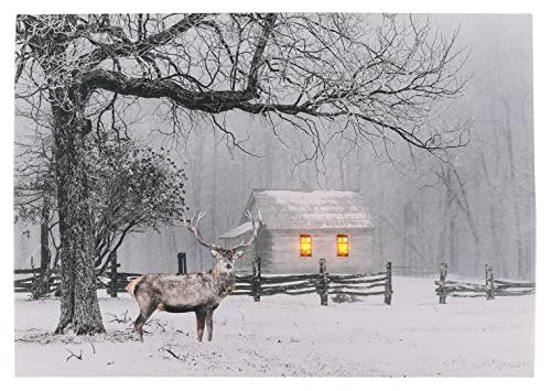 Cuadro con iluminación LED – Ciervo / 40 x 30 cm – Cuadro de pared con iluminación paisaje invernal sobre lienzo