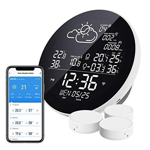 Eachen WLAN Wetterstation Funk mit 3 Außensensor Thermometer Hygrometer Funkwetterstation kompatibel mit Smart Life APP, Google Wetter synchronisieren, für Wein, Zigarre, Wohnzimmer, Babyzimmer, Haus