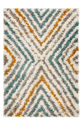 The Rug House Tapis Bleu Canard Jaune Gris Géométrique Diamant Poils Longs Tapis Géométrique Duveteux Epais Salle de séjour Salon Chambre Entrée 160cm x 220cm