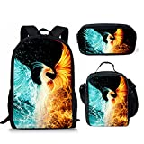 Water and Fire Phoenix Printing Backpack Sets with Schoolbag Lunch Bag Pencil Case, for Teens Kids Boys Girls