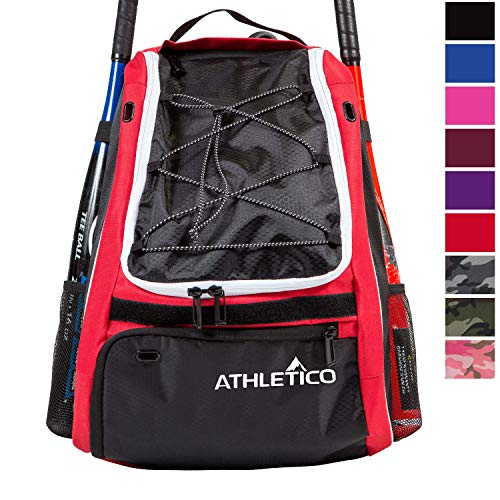 Athletico Baseball Bat Bag - Backpack Baseball, T-Ball & Softball Equipment & Gear Kids, Youth Adults | Holds Bat, Helmet, Glove, Shoes | Separate Shoe Compartment, Fence Hook (Red)