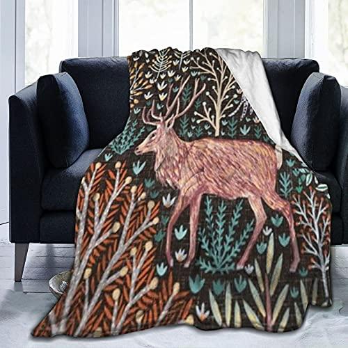 Manta rústica de forro polar de franela para animales del bosque de otoño, manta suave y difusa para dormitorio, sofá de 50 x 40 pulgadas