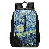 ZYWL Zaino con dipinti di Van Gogh, zaino per laptop durevole da lavoro, borsa per computer scolastica universitaria resistente all'acqua, regali per uomo donna, 17 x 12 x 6 pollici, nero