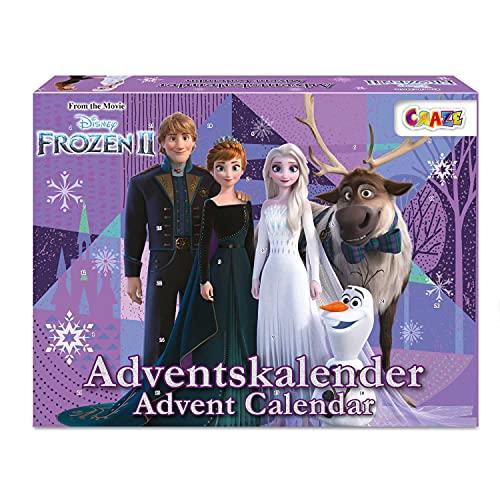 CRAZE Contenu créatif Premium Advent Calendar 24652 l'avent pour Les Enfants 2020 Frozen II Princesse des neiges pour Les Filles Calendrier Jouet, Colorful