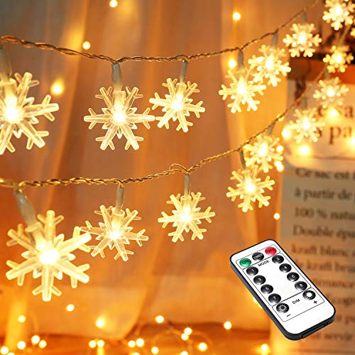 BrizLabs Snowflake Lights, 40 LED 12.80ft Christmas Lights with Remote, Twinkle Snowflake String Lights Battery Operated, 8 Modes Xmas Light Waterproof for Outdoor Indoor Room Decorations, Warm White