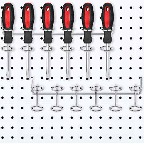2 Pieces Six-Tool Multi-Tool Holder Accessory Pegboard Accessories Multi-Ring Tool Holder for Pegboard