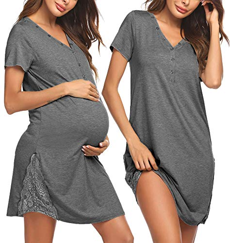 Pinspark Damen Umstands Stillnachthemd Geburt Stillkleid Kurz Still Nachthemd Grau Umstandsnachthemd Umstandsmode Kleid mit Spitze Grau S
