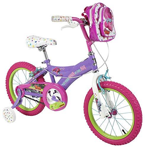"Dynacraft Trolls Girls BMX Street/Dirt Bike with Hand Brake 16"""" Purple/Pink/Green """