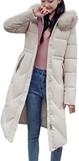HNTDG Women Faux Fur Hooded Thick Jacket Long Overcoat Solid Casual Winter Warm Slim Down Jacket Coat Overcoat