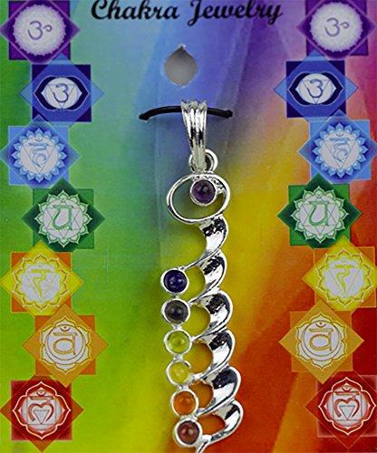 Raum der Stille Chakra Anhänger Messing versilbert, mit 7 Steinen, mit 1m Waxcord, mit Brokatbeutelchen, Verschiedene Varianten (Kundalini)