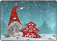 素敵なスプライトクリスマスノームスタンディング降雪エリアラグ、メリークリスマスレッドツリースノーフレークラグリビングダイニングルームベッドルームキッチン、5'X7'保育園ラグフロアカーペットヨガマット