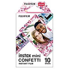Features a continuous multi-colored confetti pattern on its film Borders 10 photos Compatible with all current Instax Mini instant print cameras, The Instax share sp-2 smartphone printer as well as the new Instax Mini liplay instant camera.