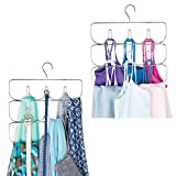 mDesign Metal Closet Rod Hanging Accessory Storage Organizer Rack for Women's Leggings, Yoga Pants, Scarves, Ties, Camisoles, Tank Tops - Snag Free Design, 2 Pack - Chrome