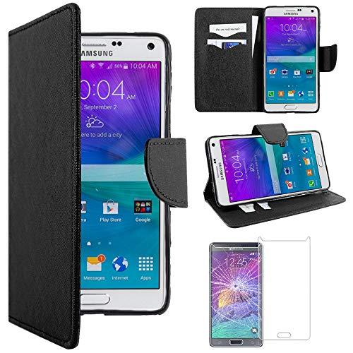 ebestStar - Funda Compatible con Samsung Note 4 Galaxy N910F Carcasa Cartera Cuero PU, Funda Ranuras Tarjeta, Función Soporte, Negro + Cristal Templado [Aparato: 153.5 x 78.6 x 8.5mm, 5.7'']