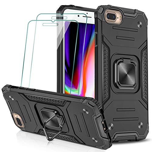 KEEPXYZ Funda para iPhone 7 Plus 8 Plus + 2 Pcs Protector de Pantalla Cristal Vidrio Templado, Hard PC y Negro Silicona TPU Bumper Antigolpes Case, 360 Grados Anillo iman Soporte iPhone 7+ 8+