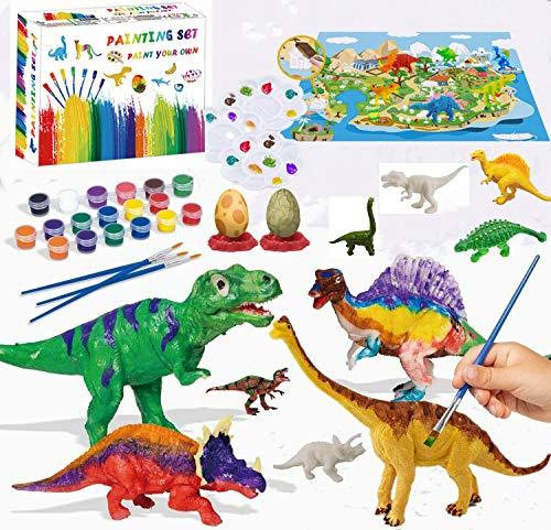 Felly Dinosaurios Juguetes 3 Años, Manualidades para Niños, 47 Piezas Pintura Kit con Tapete de Juego, Figuras Dinosaurios, 24 Colores Pintura, Creativo Juego Cumpleaño Regalos niños 3 4 5 6 7 8 Años
