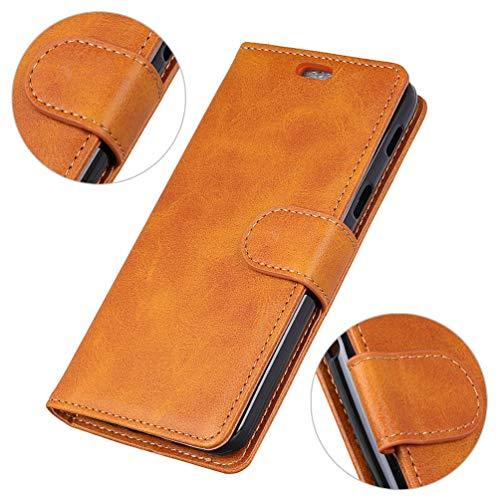 LingDan Schutzhülle für Razer Phone 2 (5,7 Zoll) PU Lederhülle Flip Cover Ledertasche Retro Rindleder Muster mit Ständer Magnetverschluss Kartensteckplatz Brieftasche Hülle, Braun