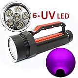 E-kinds LED-Tauchtaschenlampe, UV-Licht 6 * UV-LED 1800 Lumen wasserdichte Unterwasser-Tauchlampe...