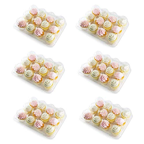 6 Pack 12 Compartment Cupcake Boxes Holders with Deep Dome Lids - Plastic Cupcake Holder - Disposable Cake Cupcake Muffin Carrier Holder Boxes - Plastic Clear Cupcake Packaging Containers Boxes