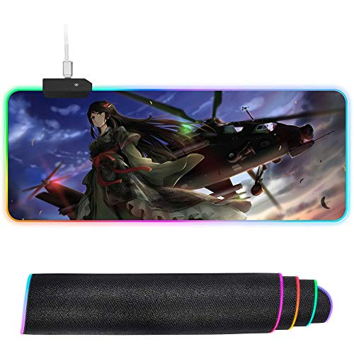 XIAOYANG RGB Mouse Pad xxl Gaming Mousepad LED Large Mause Pad Gamer Mouse Carpet Big Mause Pad PC Desk Play Mat with Backlit-400 * 800 * 4mm_Girl-JN