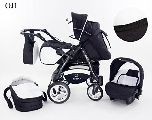 """Kinderwagen Babywagen Kombikinderwagen TriBeCe\""""Sun\"""" 3 in 1 Komplettset mit Zubehör 0-3 Jahre 0-15 kg Insektenschutz Netz Regenschutz Getränkehalter Buggy Autositz (OJ1)"""