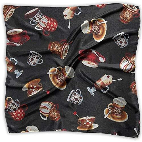 Uridy Pañuelo cuadrado de satén Taza de café Seda como bandanas ligeras Pañuelo para la cabeza Chal cuello Pañuelo para la cabeza