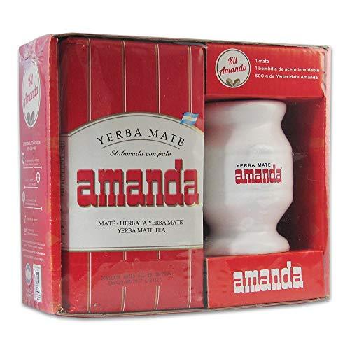 Kit de yerba mate Amanda roja con mate de cerámica y bombilla