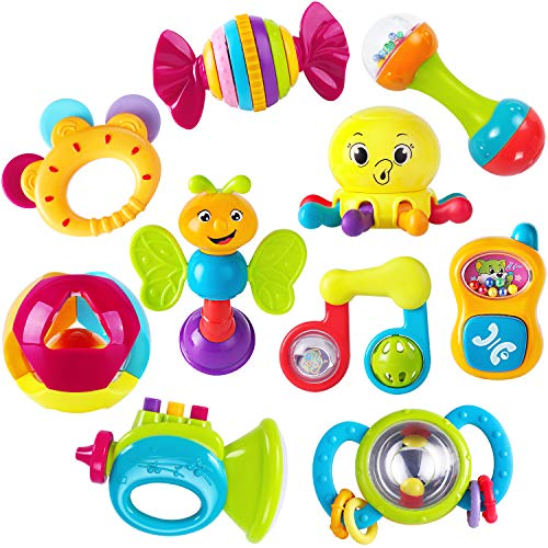 Find Discount iPlay, iLearn 10pcs Baby Rattles Teether, Shaker, Grab and Spin Rattle, Musical Toy Se...