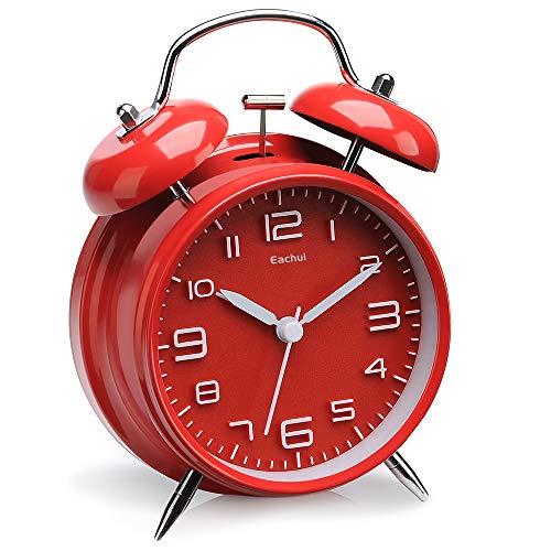 Eachui Doppelglockenwecker mit Nachtlicht, großes Zifferblatt von 4 Zoll, Analog Quarzwecker mit lautem Alarm,kein Ticken, geräuschlos (Rot)