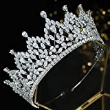 White CZ Princess Pageant Crowns Full Cubic Zirconia Tiaras for Bride Birthday Quinceanera Party Headpiece Wedding Hair Accessories Silver HG0145