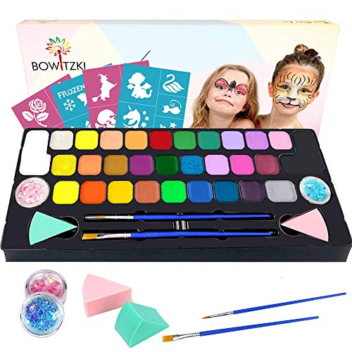 Bowitzki Face Paint kit for kids-30 Vivid Colors,2 Brushes,2 Chunky Glitter,2 sponges,32 Reusable Stencils,Professional Non-Toxic Halloween Party Makeup Body & face Painting