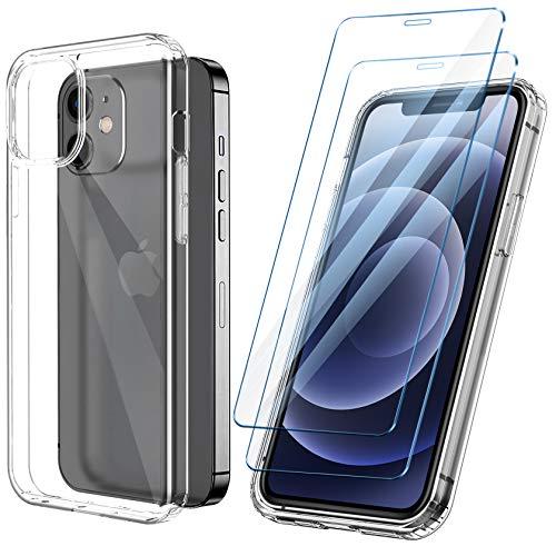ivencase Cover Ultra Hybrid Compatibile con iPhone 12/12 PRO con 2 Pezzi Vetro Temperato, Anti-Ingiallimento Hard PC Retro, Paraurti Flessibile Cover Antiurto - Trasparente