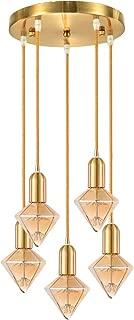 Wellmet Cluster Pendant Lighting, Hanging Light Fixture with E26 Bulbs, Modern Multi-Lights Adjustable Ceiling Pendant 5-Light for Hallway Bedroom Foyer Dining Room, Brushed Brass, Diamond