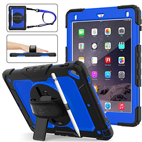 SEYMAC Stock iPad 6th/5th Generation Case, Shockproof [Full-body] Protective Case with 360 Rotating Stand [Pencil Holder] [Screen protector] Hand Strap for iPad 6th/5th/ Air 2/ Pro 9.7 (Blue+Black)