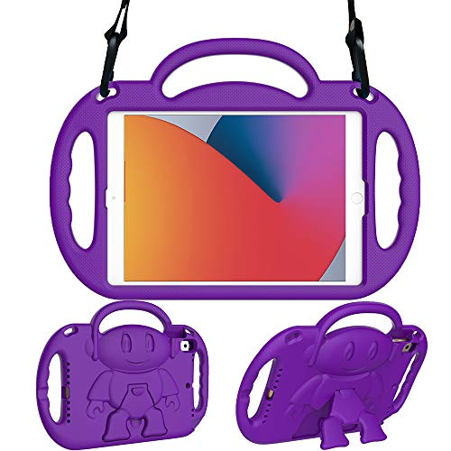eTopxizu Kids Case for New iPad 10.2 Inch 2020/2019 (8th/7th Generation), Light Weight Shock Proof Handle Stand Shoulder Strap Kids Case for 2020/2019 iPad 10.2, iPad Air 3 10.5 2019, Purple