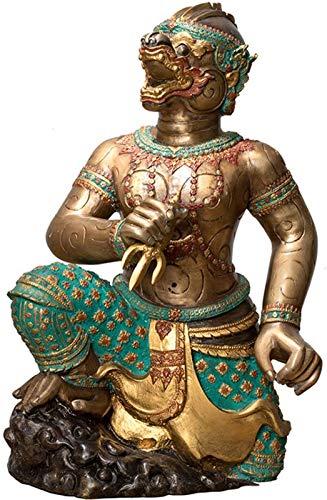 aipipl Decoración de la Estatua de Hanuman, Escultura Artesanal de Cobre Puro, decoración de la India, decoración de la Oficina en el hogar, 9,4 * 17,5 Pulgadas