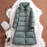 Hermoso y elegante abrigo de invierno para mujer, acolchado, cálido, grueso, largo, chaqueta informal, parkas, mujer ultra ligera, para mujer (color verde claro, tamaño: mediano)
