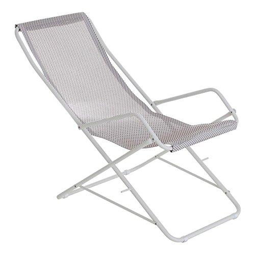 Bahama Liegestuhl, eisgrau weiß Sitzfläche EMU-Tex eisgrau BxHxT 58x95x108cm Gestell Stahl weiß