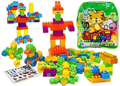 Wishmaster Small Size Basic Blocks for Toddlers/Kids (100-Piece Set) Stackable, Multi-Colored, Interlocking Toys Safe, Non-Toxic Plastic Bright Colors, Waterproof Boys and Girls Age 3 +