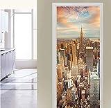 YANCONG Türposter Selbstklebend New York Manhattan Empire