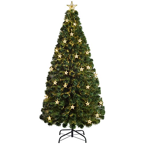 WeRChristmas Pre-Lit Fibre Optic Multi-Function Christmas Tree with Tree Topper, Green, 6 feet/1.8 m